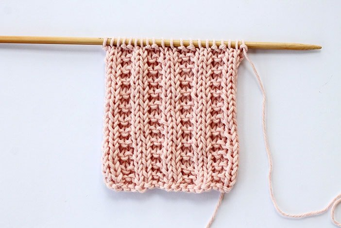 Garter stitch rib knitted swatch example