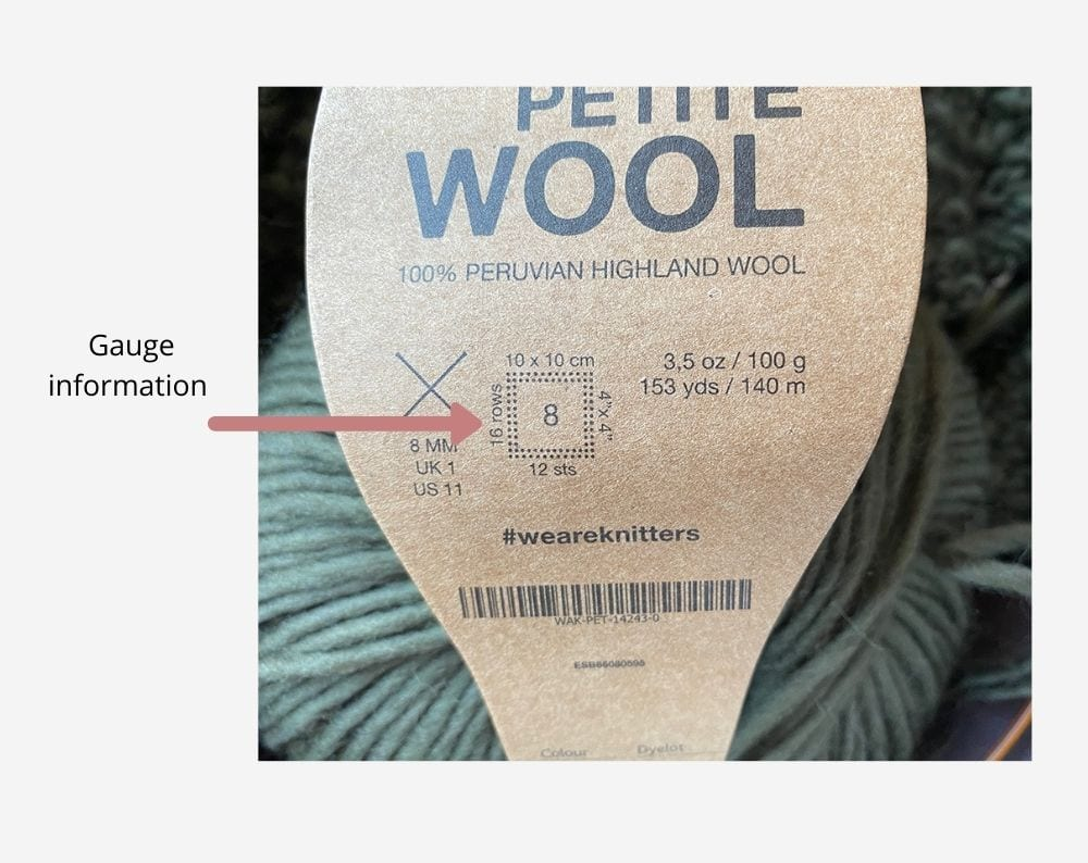 Gauge information on a yarn label