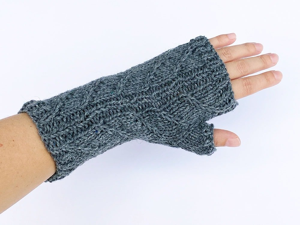 top view of fingerless gloves