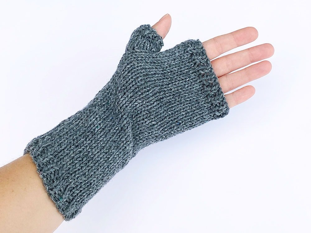 underside view of fingerless gloves