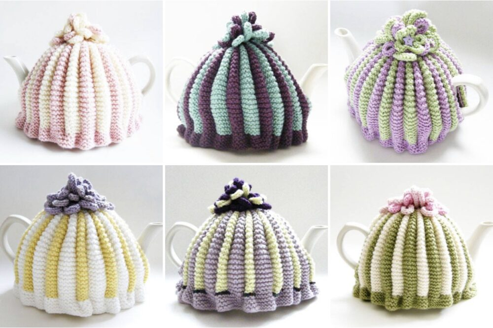 Retro 1950's style tea cosies knit in various colours
