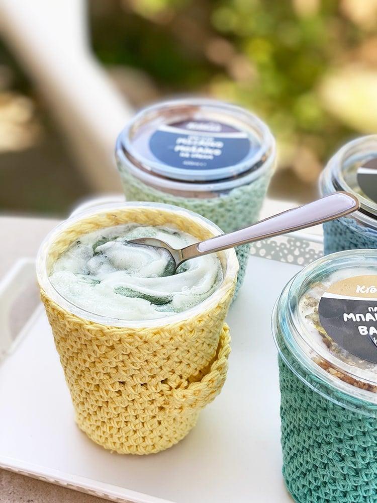 Crochet acogedor helado