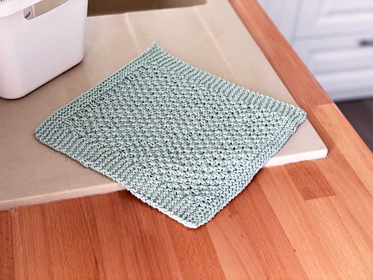 Irish moss stitch knitted dishcloth