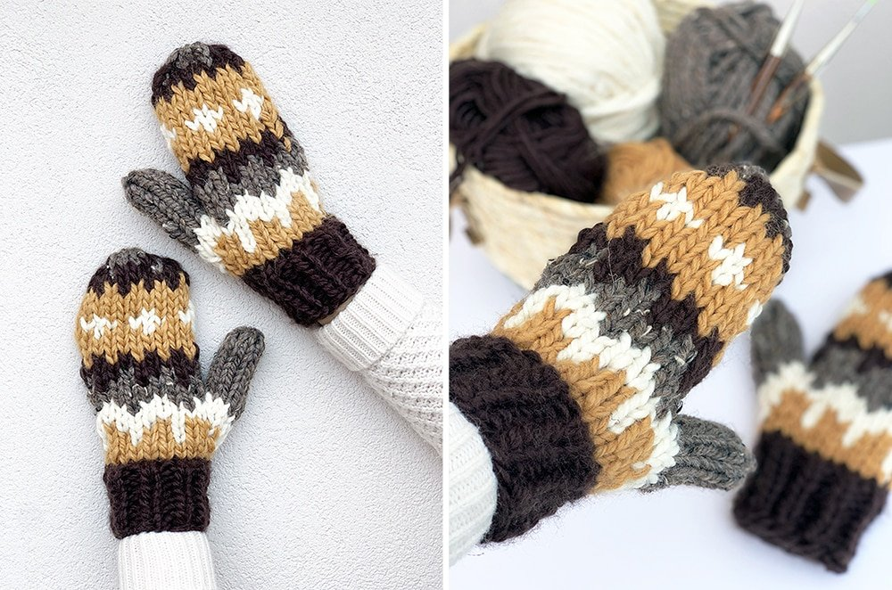Knitted mittens with the intarsia technique