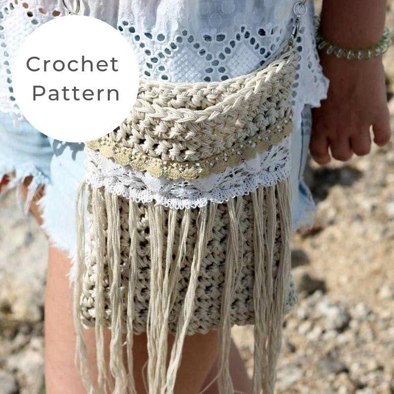Crochet fringe bag crossbody