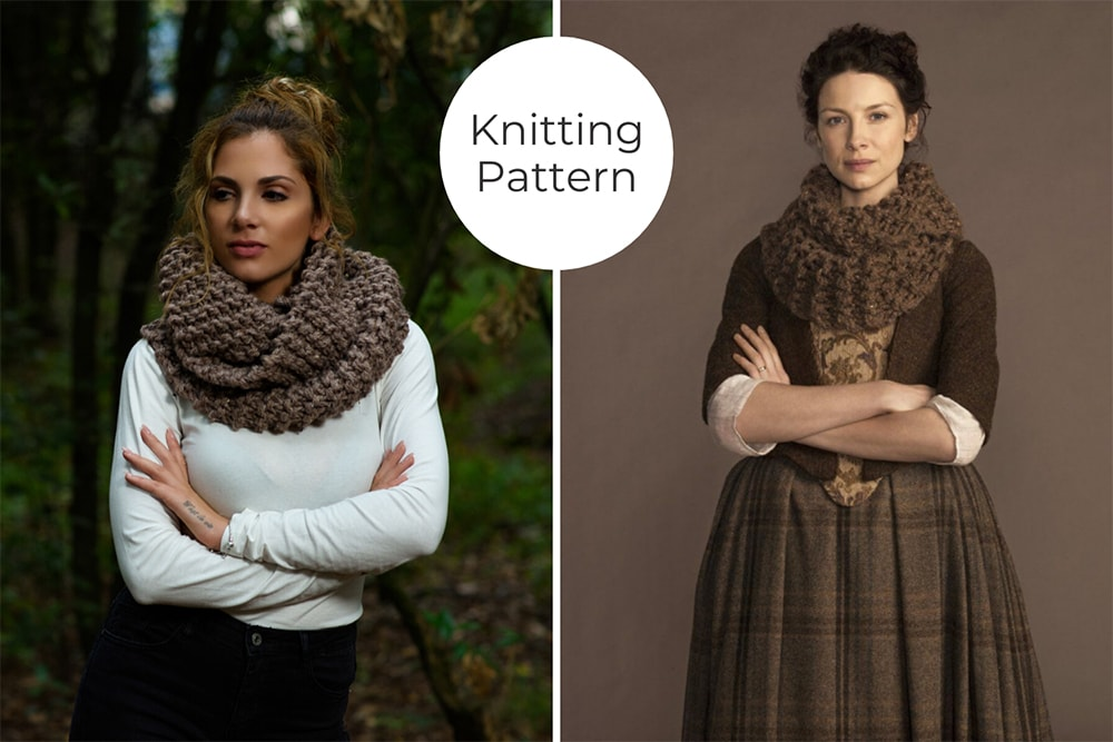 Outlander Claire cowl knitted with brown yarn
