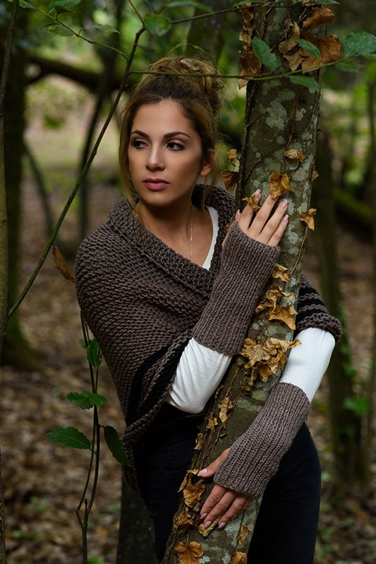 Outlander Claire brown knitted wrist warmers