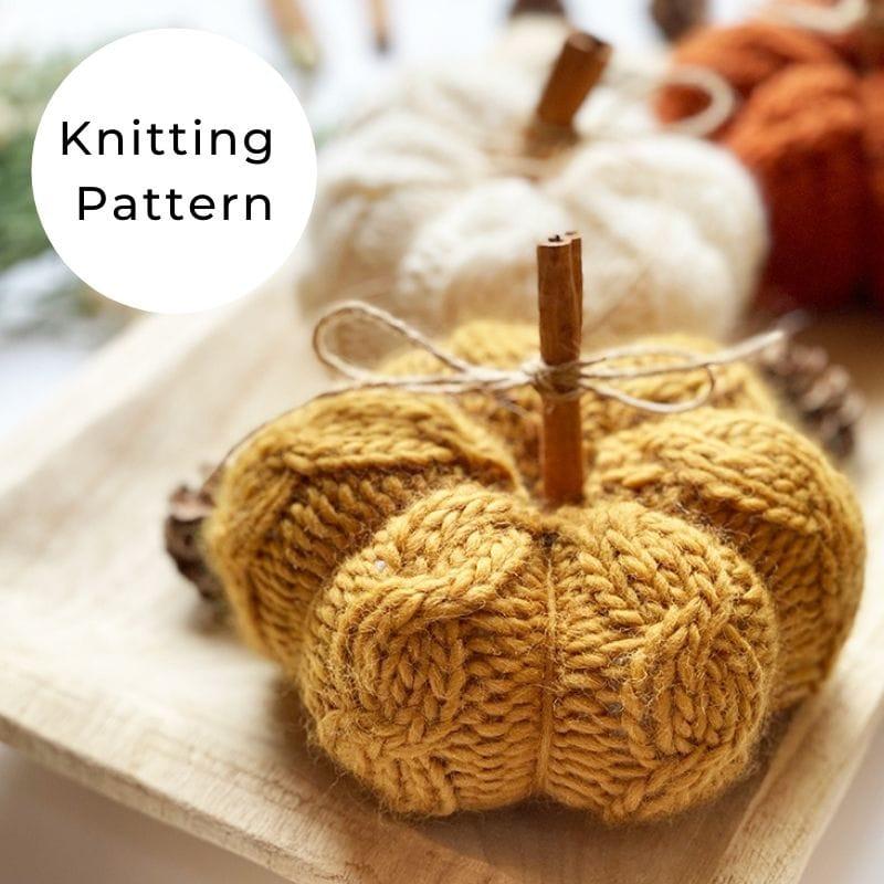 Pumpkin knitting pattern shop image
