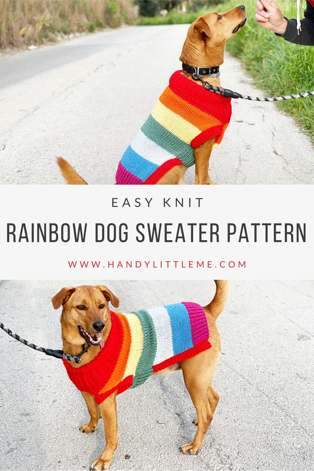 Rainbow dog jumper knitting pattern