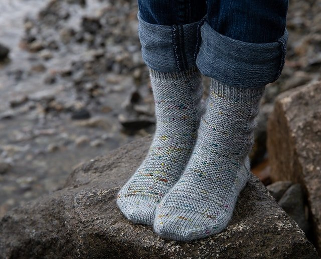 grey socks knit with superfine yarn