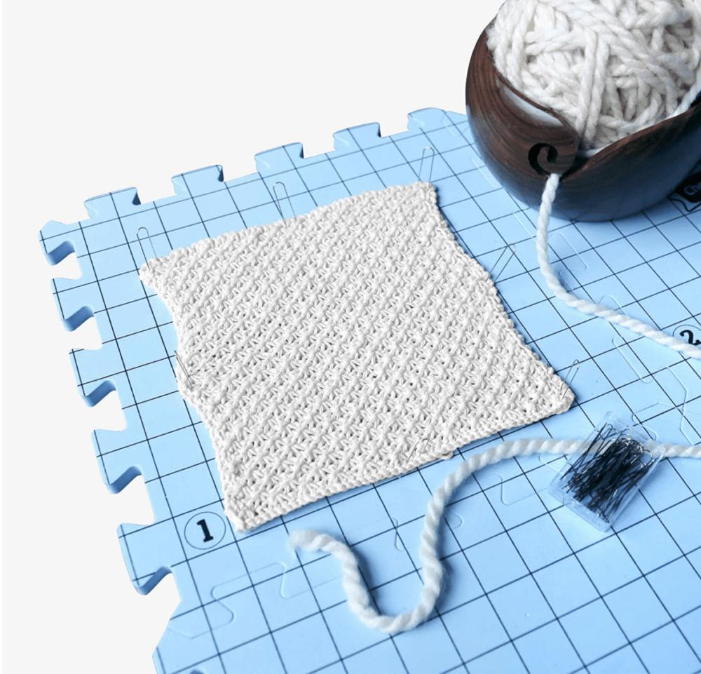 Blocking knitting on blocking mats