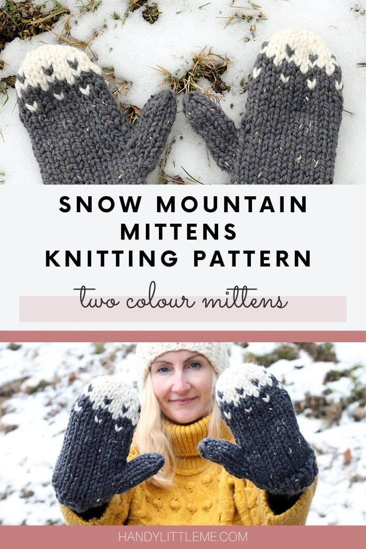 Snow mountain mittens