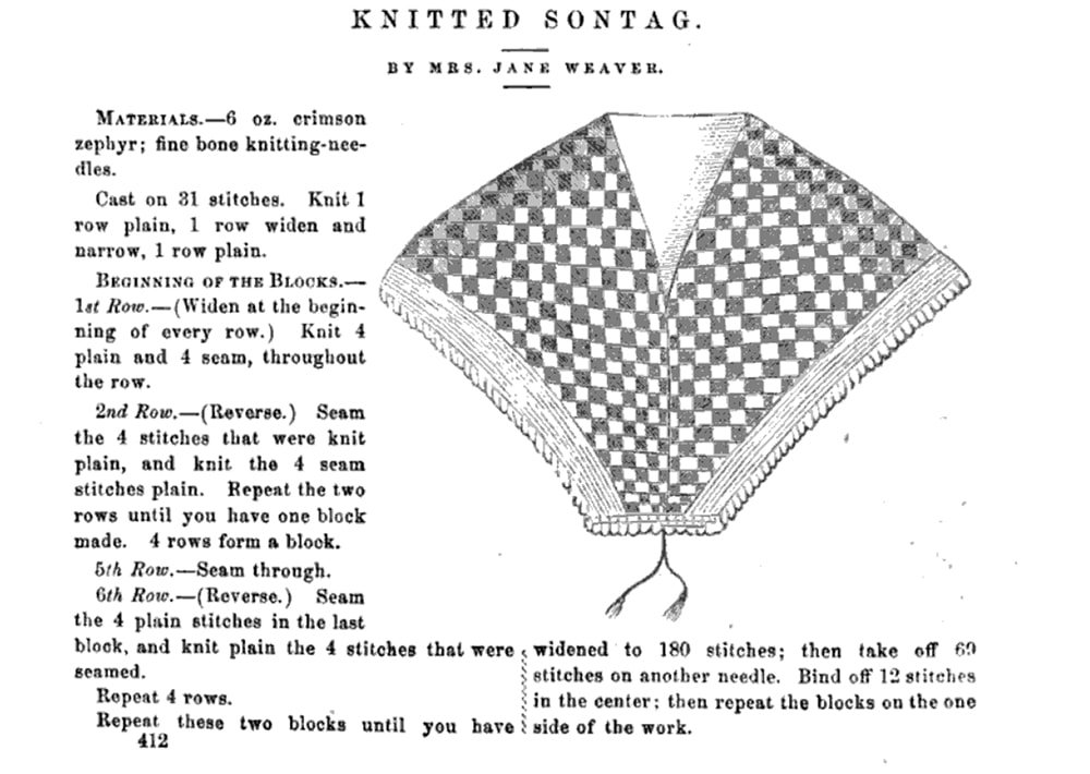 Sontag shawl pattern illustration