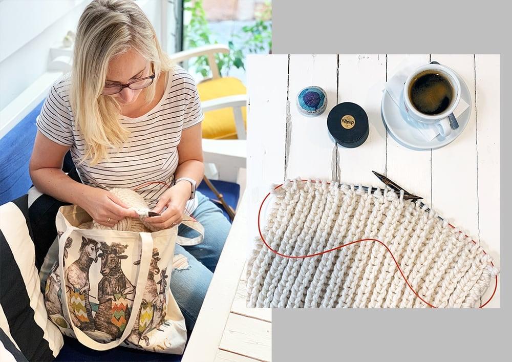 Artiphany social knitworking canvas yarn bag