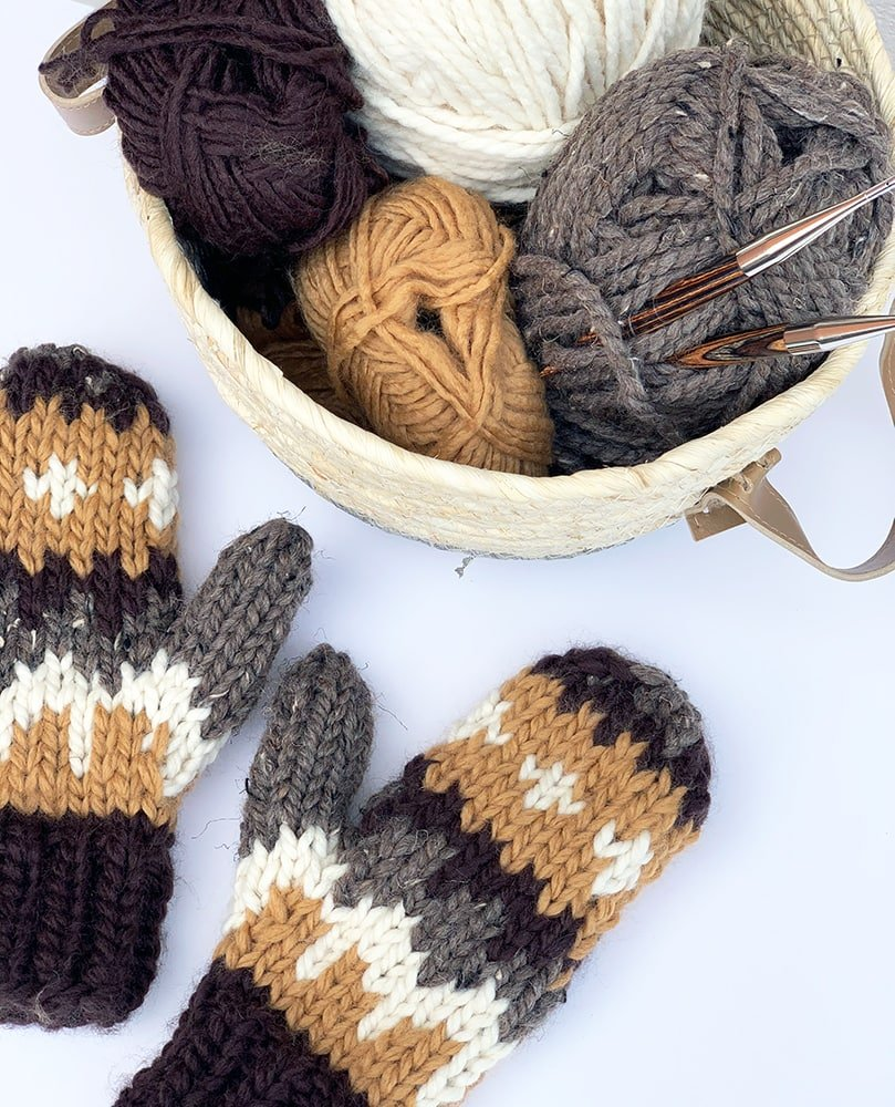 Yarn basket and knitted mittens