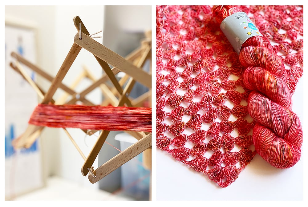 Zinnia yarn from Martin's Lab