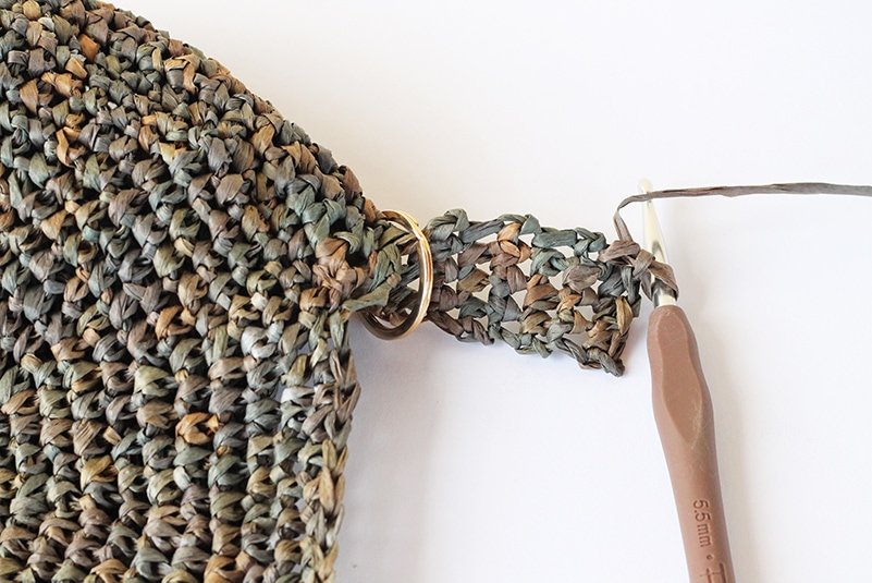 making the side loops of the bag