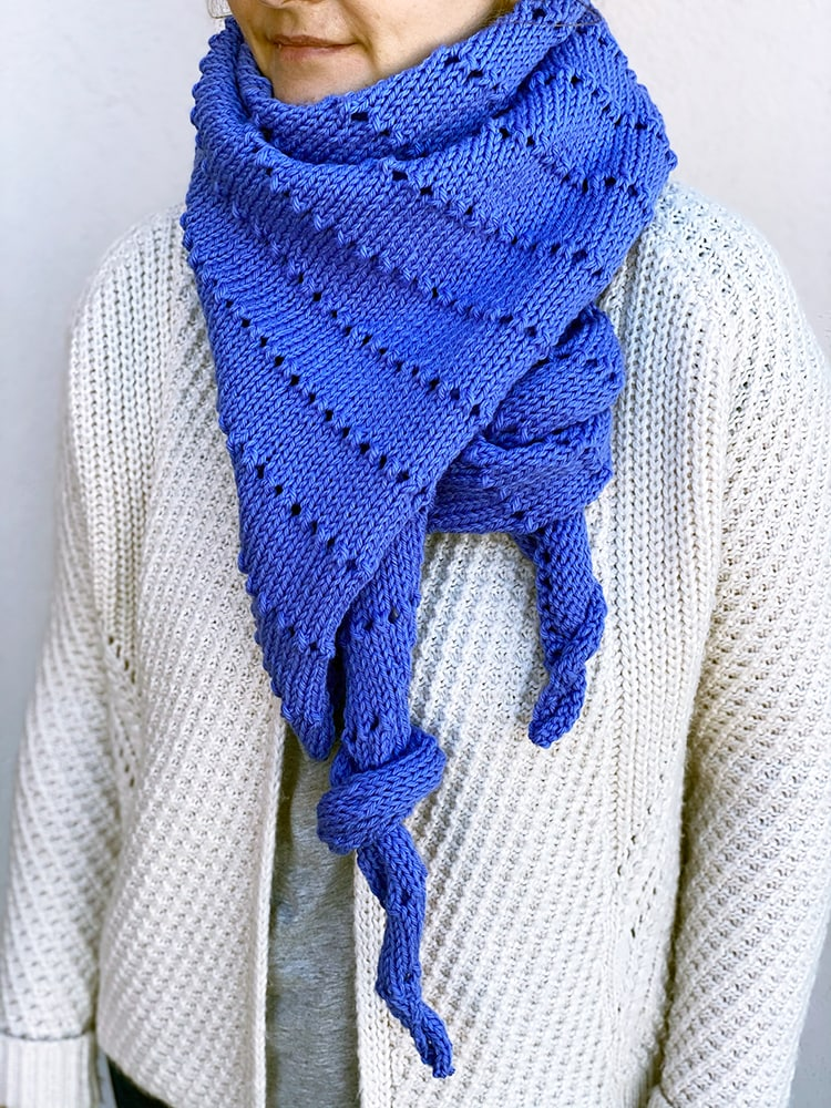 asymmetrical shawl with knotted ends