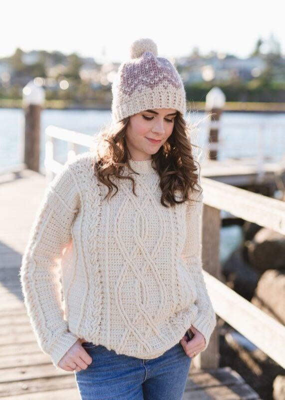 crochet aran sweater in white yarn
