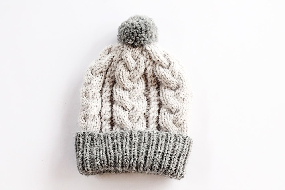 baby beanie hat with a cable knit design