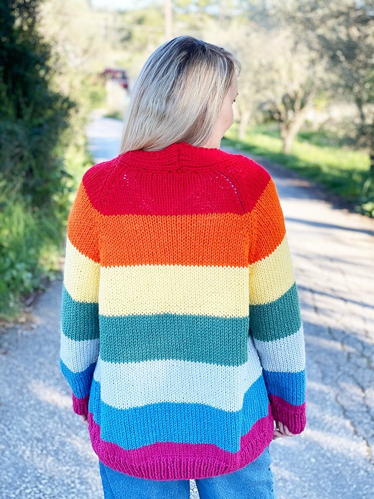back of the rainbow cardigan