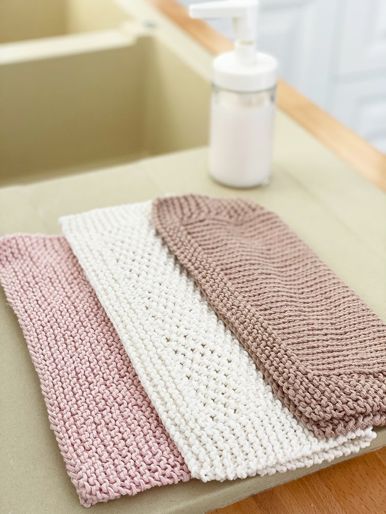 basic knitting stitches dishcloth set