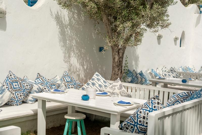 blue and white garden decor