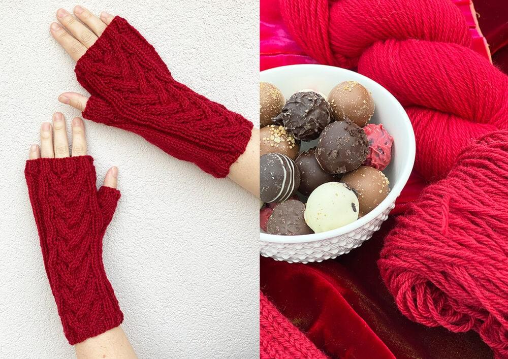 long fingerless gloves and yarn