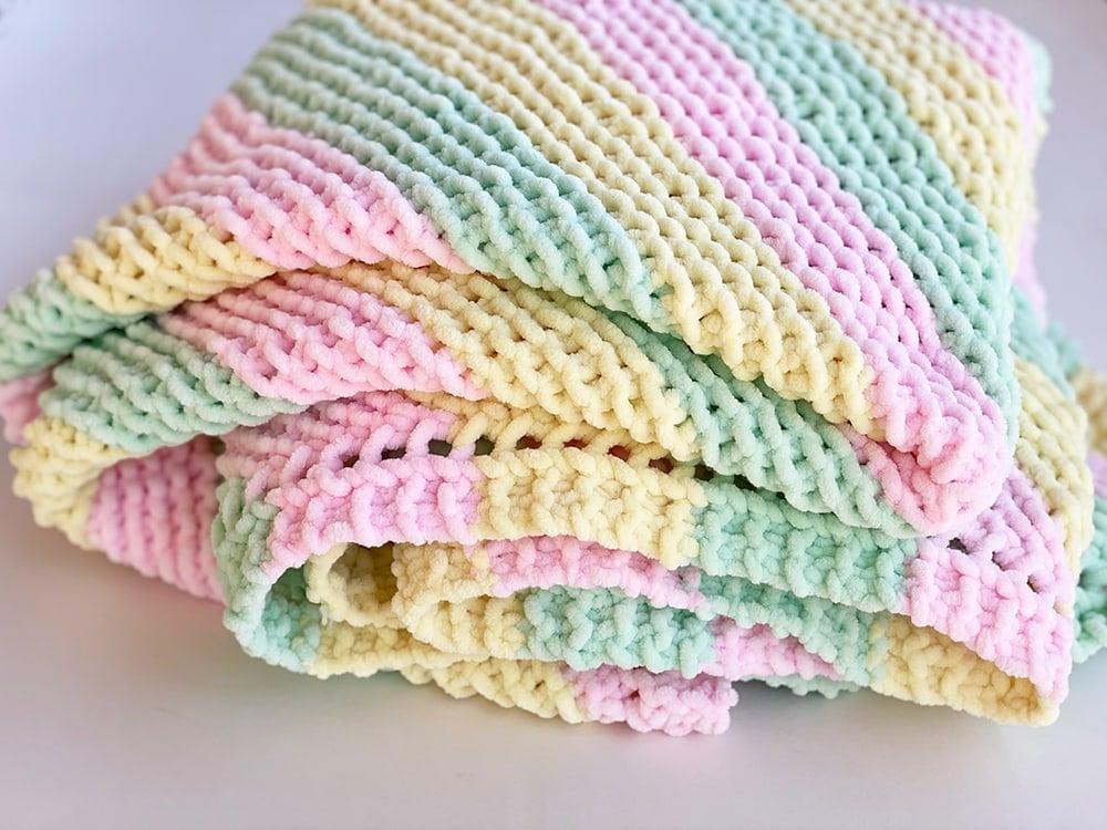 chunky baby blanket knit corner to corner