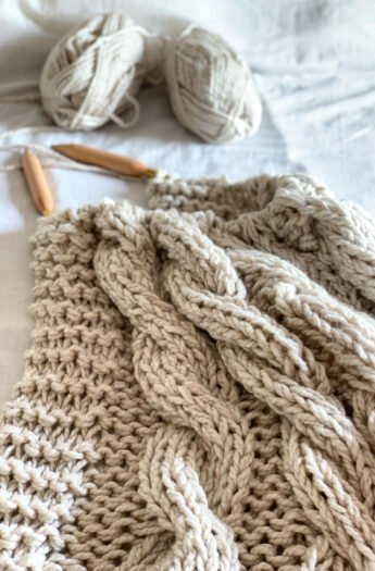 Chunky Cable Knit Blanket Pattern