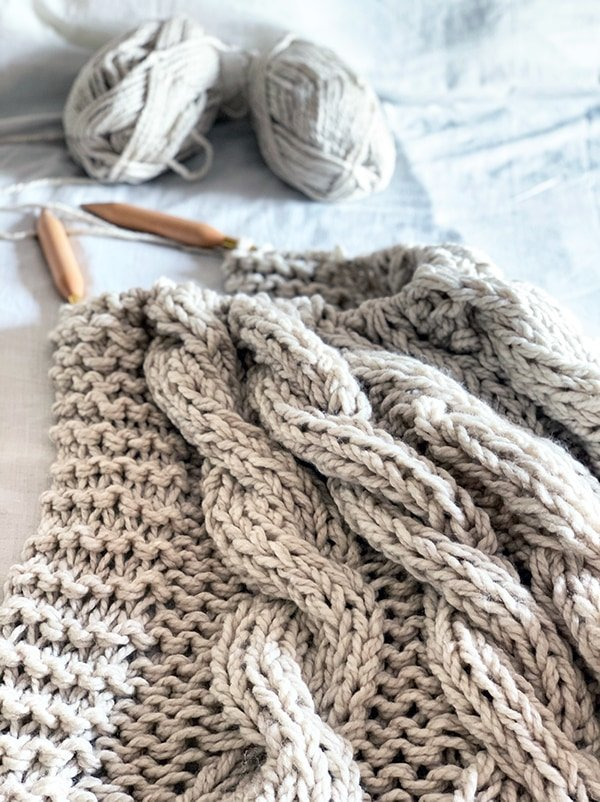cable blanket knit with jumbo yarn