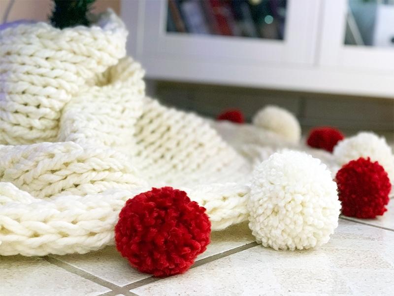 chunky knit Christmas tree skirt