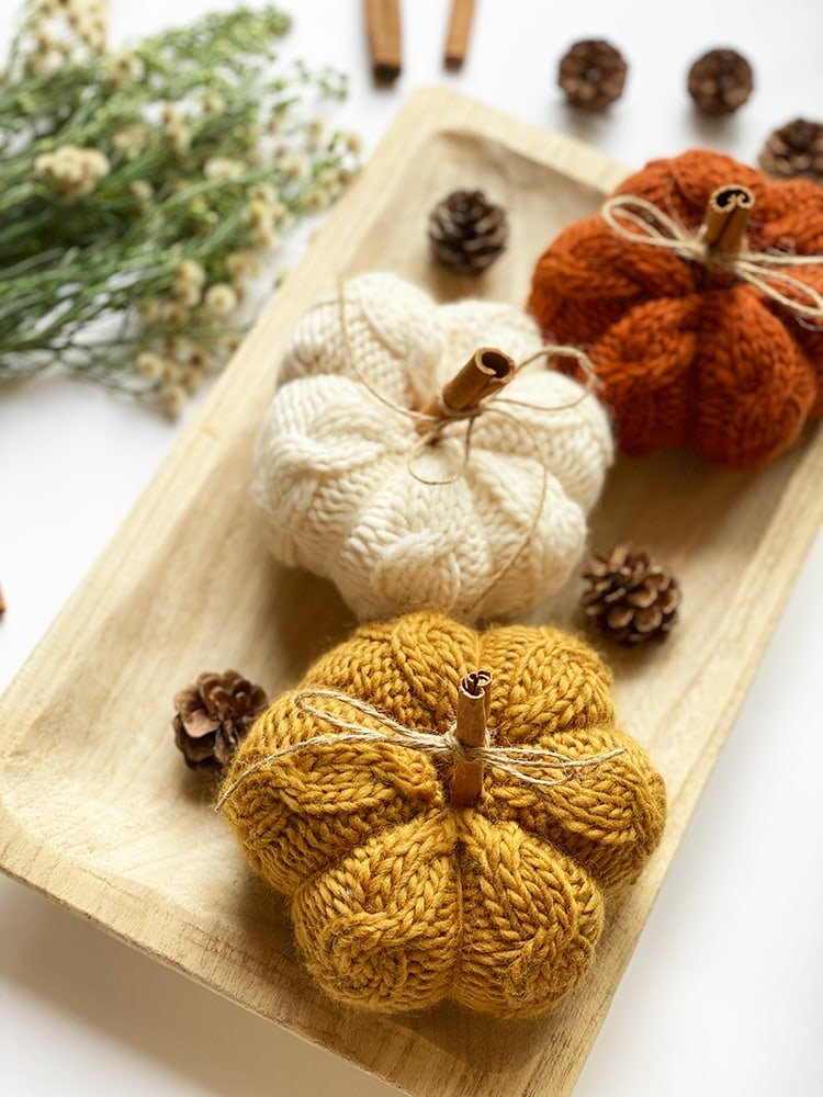 chunky knit pumpkin pattern