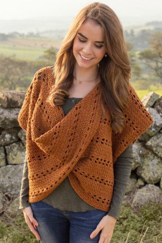 woman wearing a crochet pullover