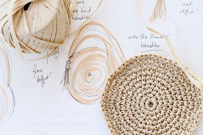 circle bag sketch with a crochet circle made from raffia