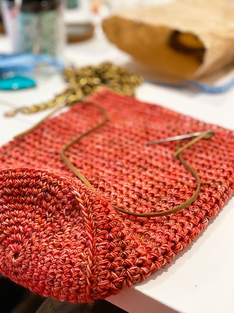 crochet crossbody bag on desk