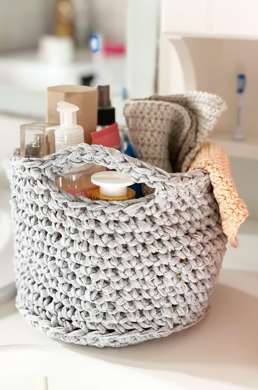 crochet bathroom basket pattern