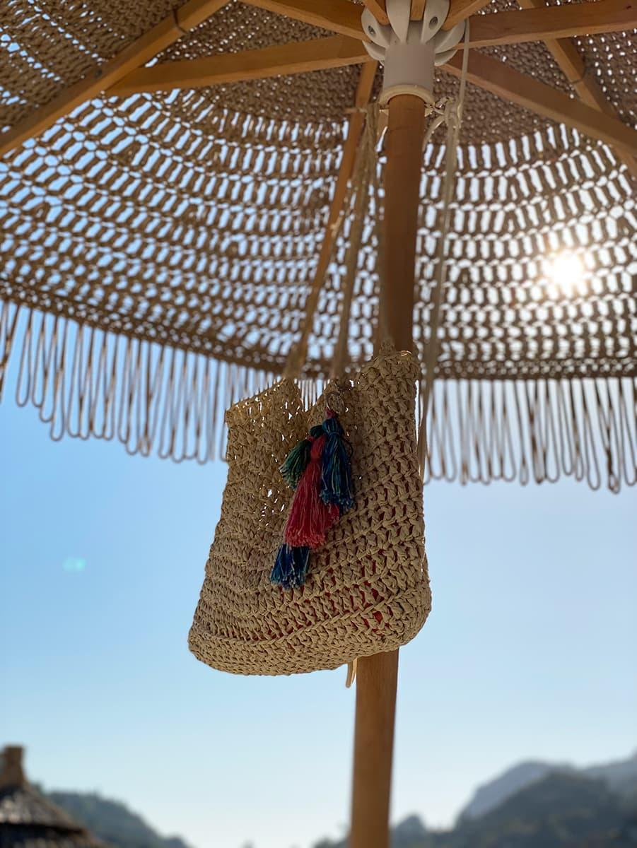 crochet beach bag with tassels