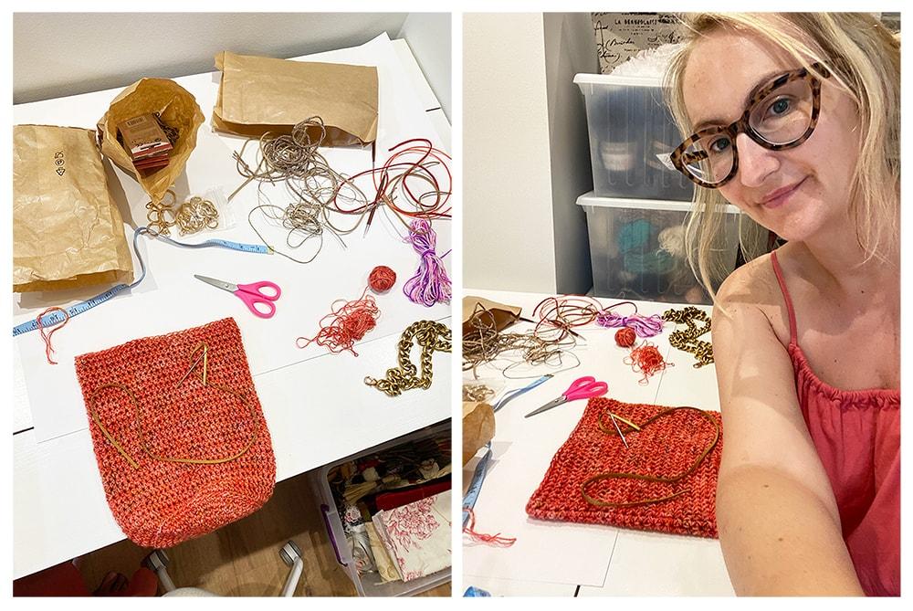 crochet crossbody bag work in progress
