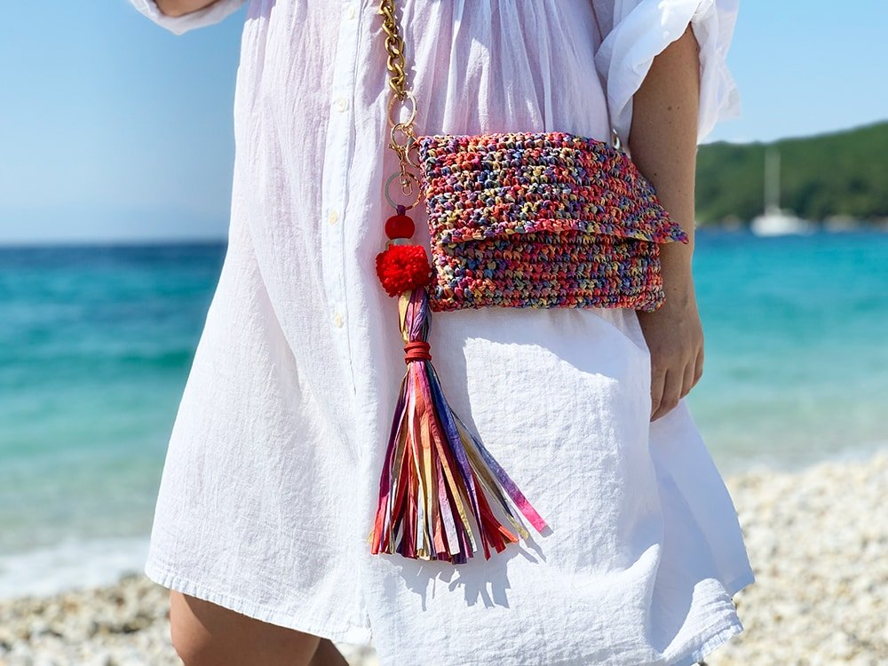 raffia crochet bag with long tassel