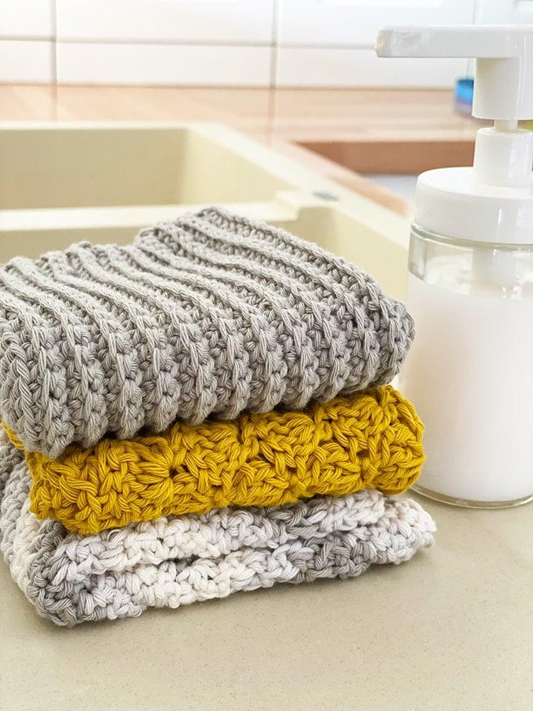 crochet dishcloth set of three