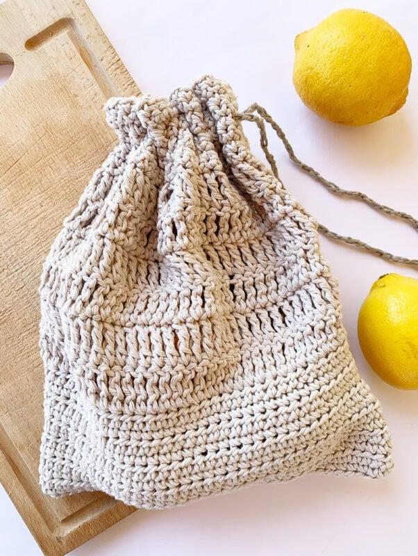 crochet cotton drawstring bag