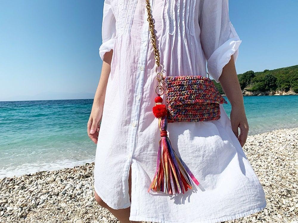 raffia crochet purse with long tassel