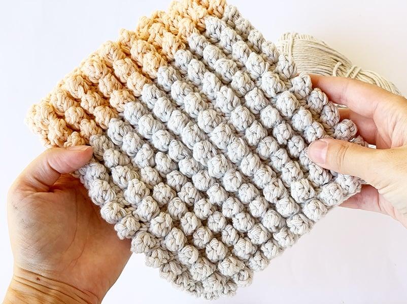 popcorn stitch example in cotton