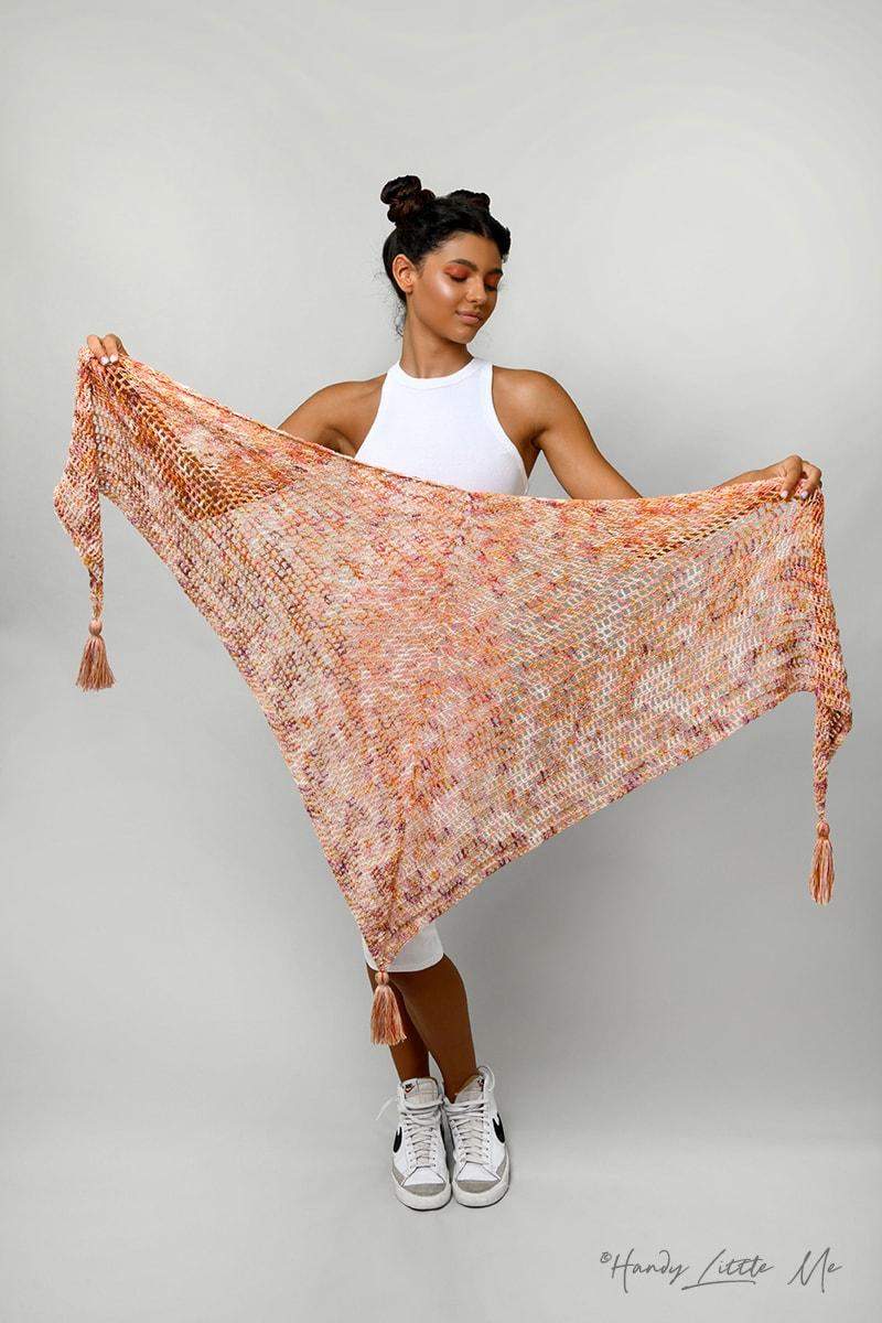 crochet triangle shawl with tassels