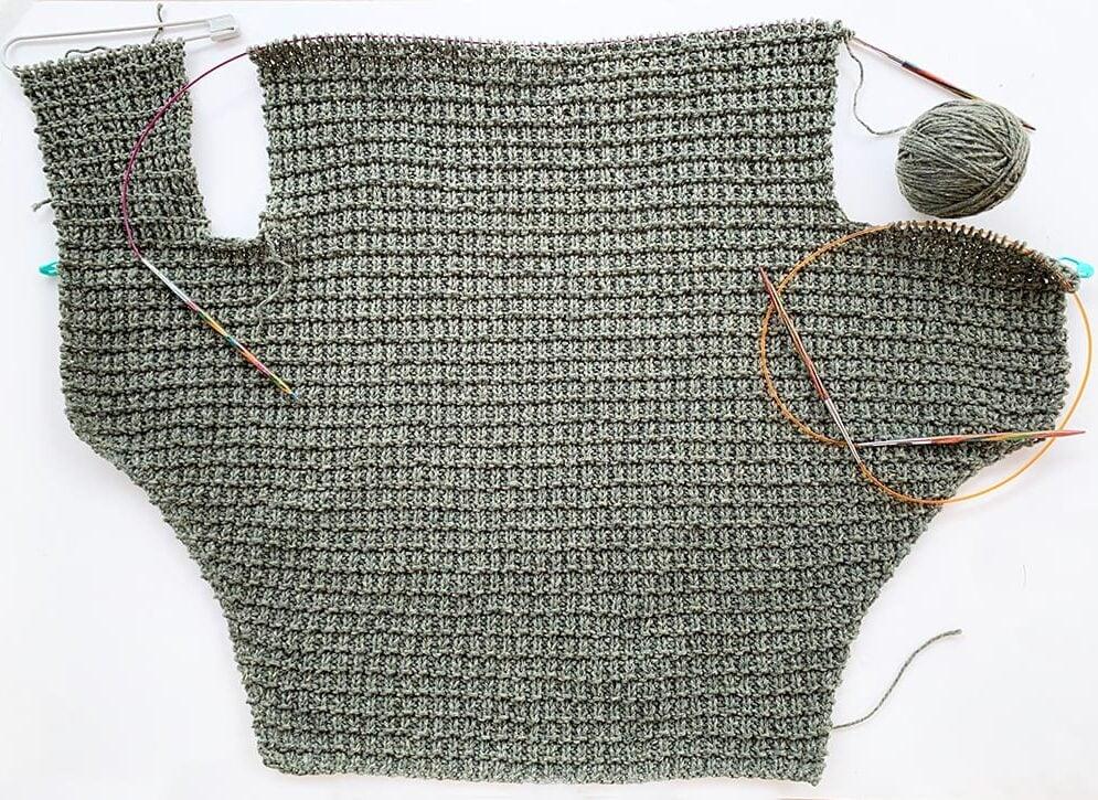 dog sweater on the needles