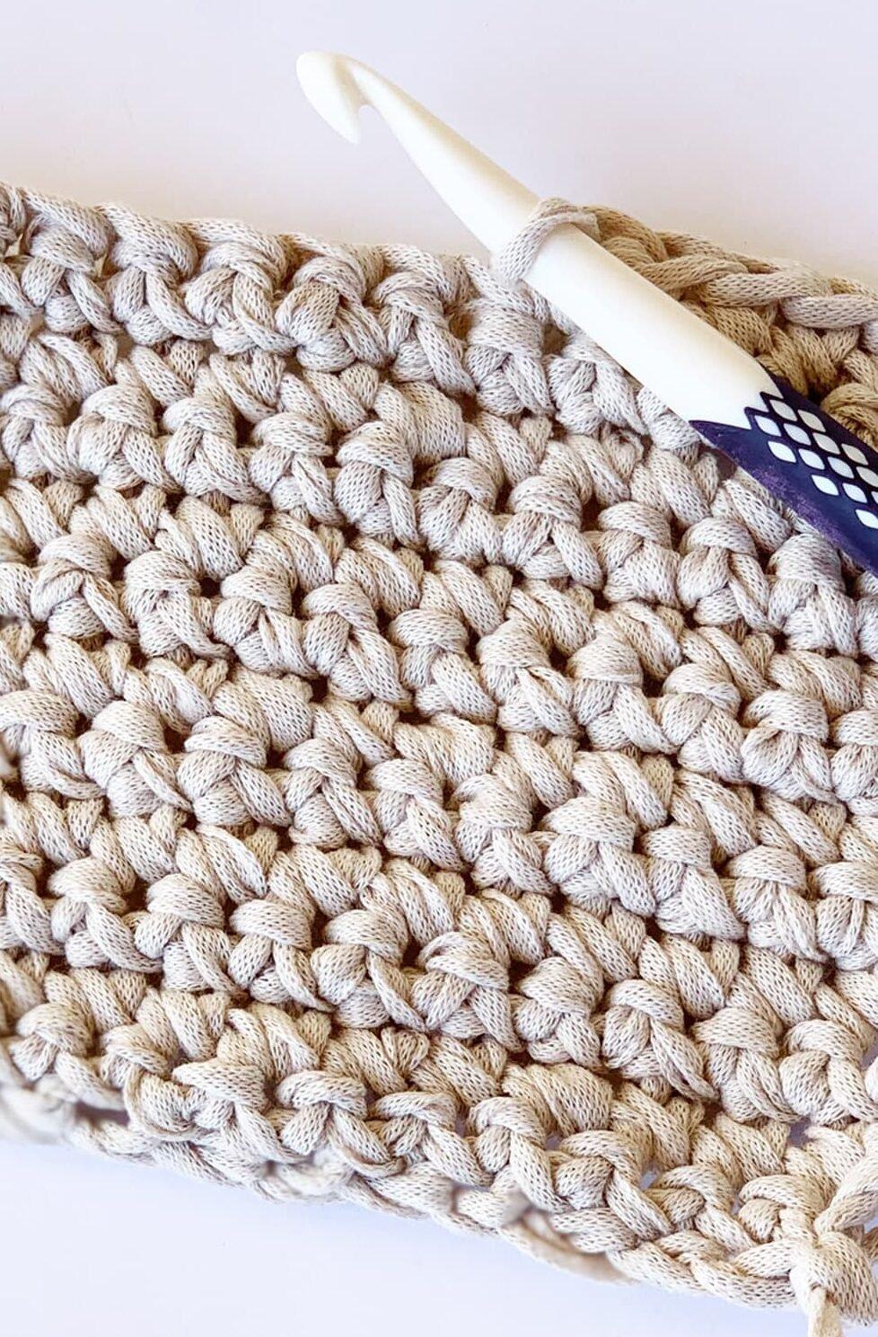 single crochet sample and hook