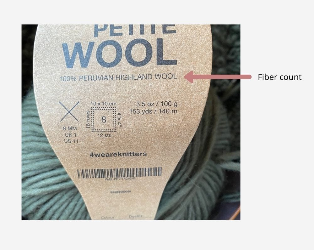 fiber content on a yarn label