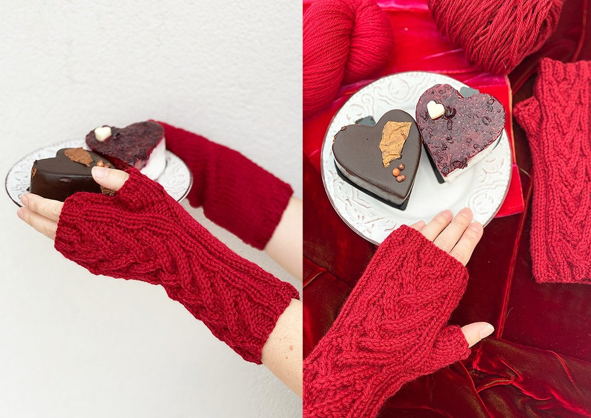 knit fingerless gloves and cake