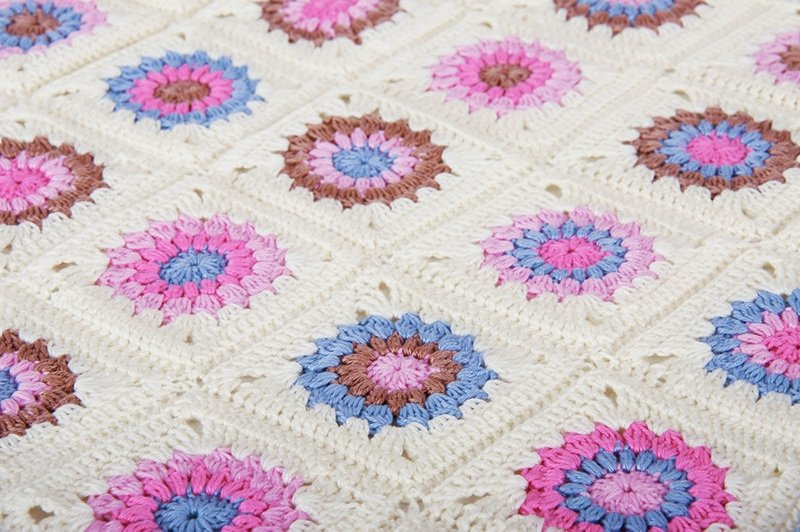 granny square blanket with lots of colourful yarns